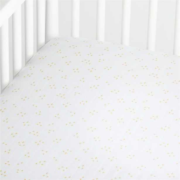 Organic White Muslin Crib Fitted Sheet - Crate and Barrel