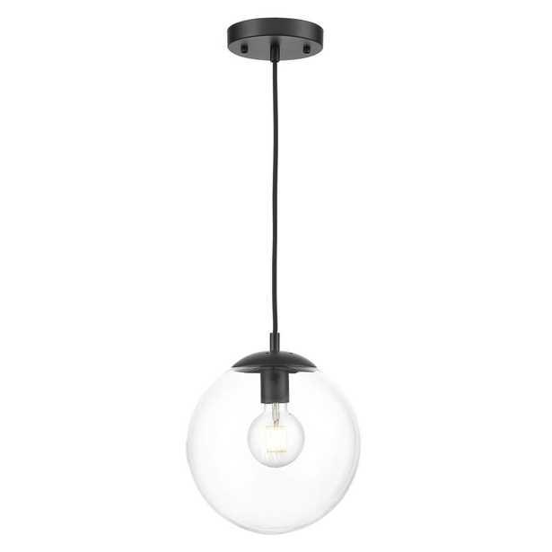 Light Society Zeno 1-Light Black Globe Pendant with Clear Glass Shade - Home Depot