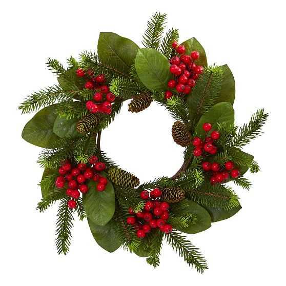 "Magnolia Leaf, Berry & Pine Artificial Wreath, 19"" - West Elm"