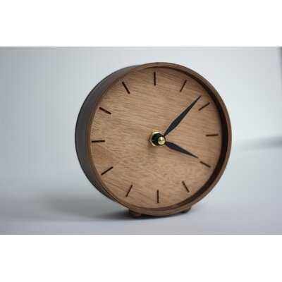 Analog Birch Wood Quartz Tabletop Clock in Brown - Wayfair
