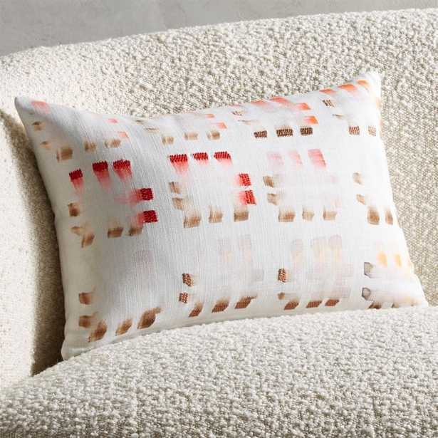 """18""""x12"""" Terni Pink Embroidered Pillow with Feather-Down Insert - CB2"""
