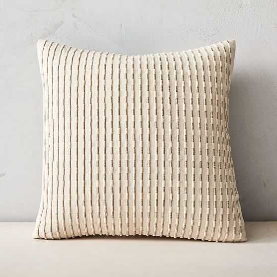"""Corded Metallic Pillow Cover, 18""""x18"""", Natural - West Elm"""