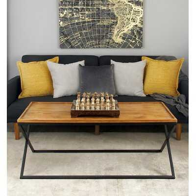Villines Metal and Wood Coffee Table with Tray Top - Wayfair