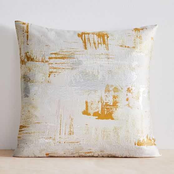 "Painterly Brocade Pillow Cover, 24""x24"", Dark Horseradish - West Elm"