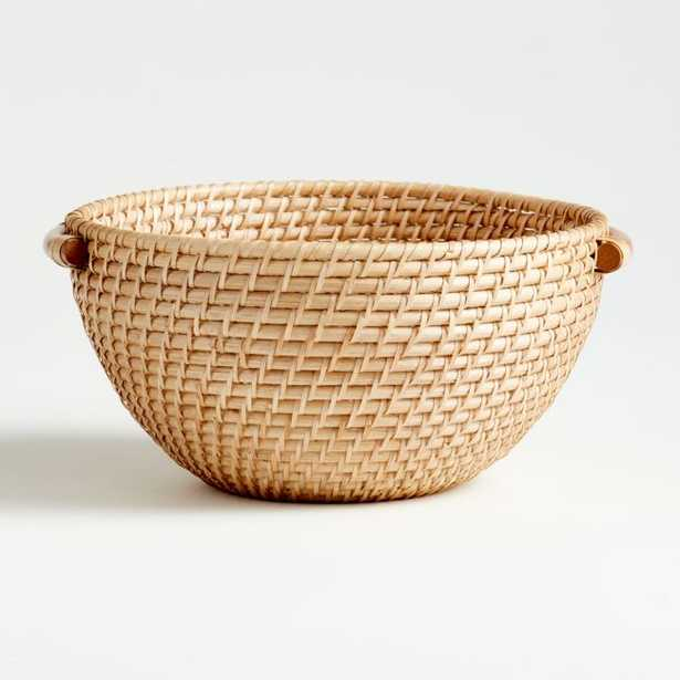 Artesia Natural Rattan Bowl with Handles - Crate and Barrel