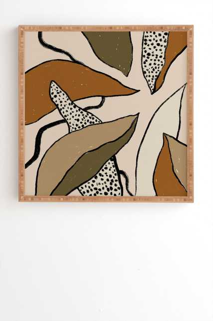 """Patterned Tropical Leaves by Alisa Galitsyna - Framed Wall Art Bamboo 12"""" x 12"""" - Wander Print Co."""