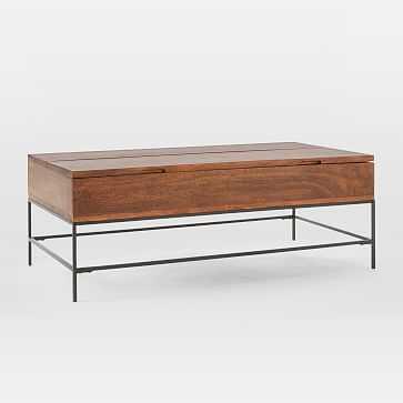"""Industrial Storage Coffee Table, 50""""x26"""", Mango Wood + Metal - West Elm"""
