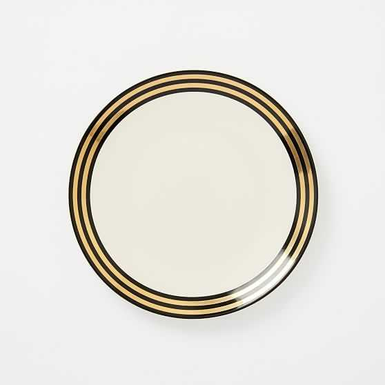 Fishs Eddy Side Plate, Black + Gold Thick Striped Band, Set of 4 - West Elm
