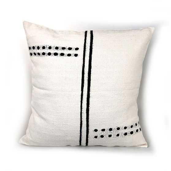 Tonga Pillow Cover, Black Dots & Lines - West Elm