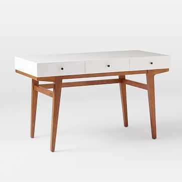 Modern Desk, Pecan/White - West Elm