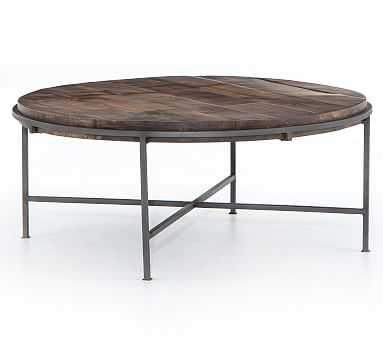Barton Round Coffee Table, Gummetal - Pottery Barn