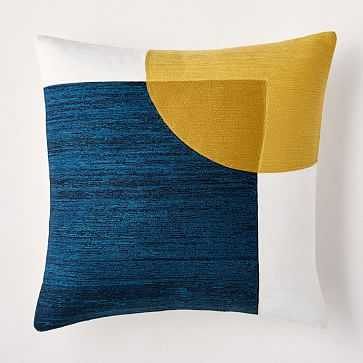 """Crewel Overlapping Shapes Pillow Cover, 18""""x18"""", Midnight - West Elm"""