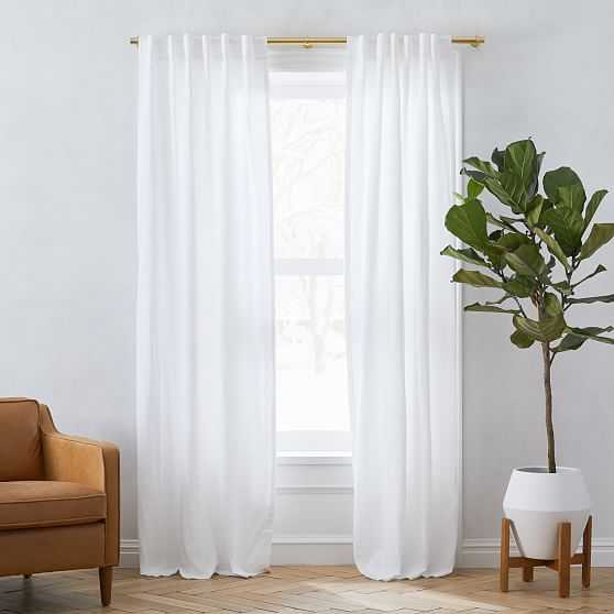 Custom Size Solid Belgian Flax Linen Curtain, White - West Elm