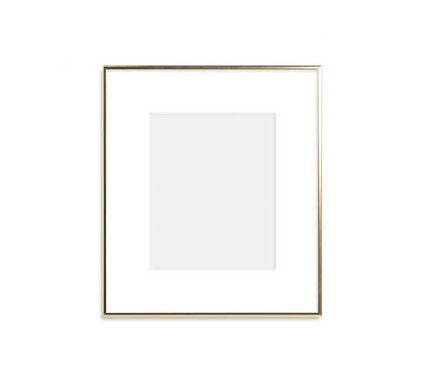 """Thin Metal Gallery Frame, 3"""" Mat, 8x10 - Bright Gold - Pottery Barn"""