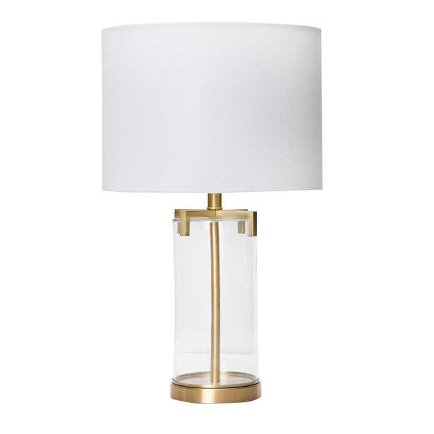 """26.5"""" Brushed Gold and Glass Table Lamp - Nomad Home"""