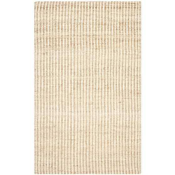 Washed Stripes Jute Rug, 5'x8', Natural & Ivory - West Elm