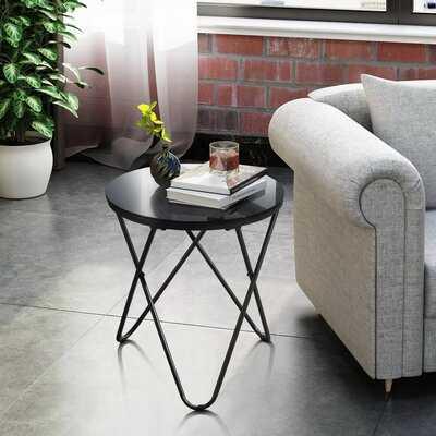 Prins Glass Top Cross Legs End Table - Wayfair