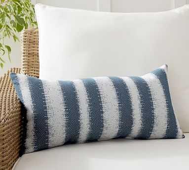 "Sunbrella(R) Addax Striped Indoor/Outdoor Lumbar Pillow, 12 x 24"", Blue Multi - Pottery Barn"