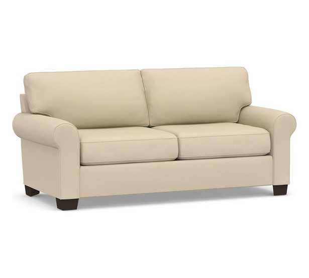 """Buchanan Roll Arm Upholstered Loveseat 79"""", Polyester Wrapped Cushions, Park Weave Oatmeal - Pottery Barn"""