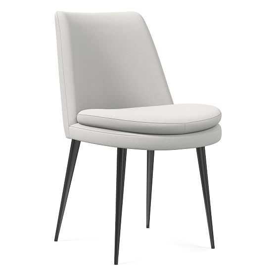 Finley Low Back Dining Chair, Sierra Leather, White Gunmetal - West Elm