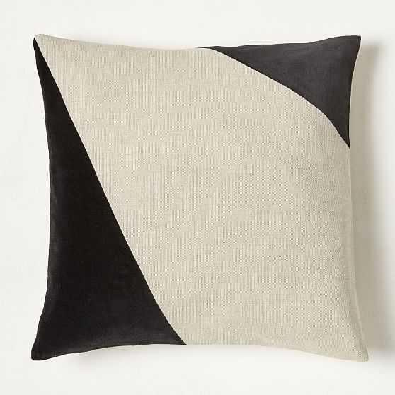 """Cotton Linen + Velvet Corners Pillow Cover, 20""""x20"""", Black, Set of 2 - West Elm"""
