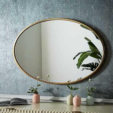 Metal Framed Mirror, Antique Brass, Oval - West Elm