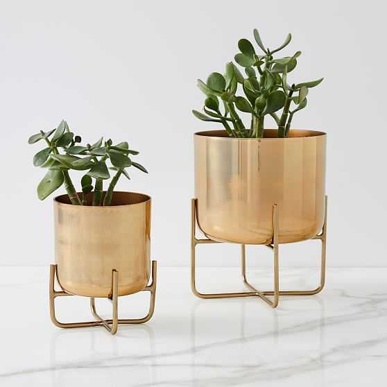 Spun Metal Tabletop Planters, Antique Brass, Set of 2 - West Elm