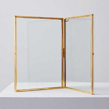 Terrace Floating Frame, Double Fold Vertical, Antique Brass - West Elm