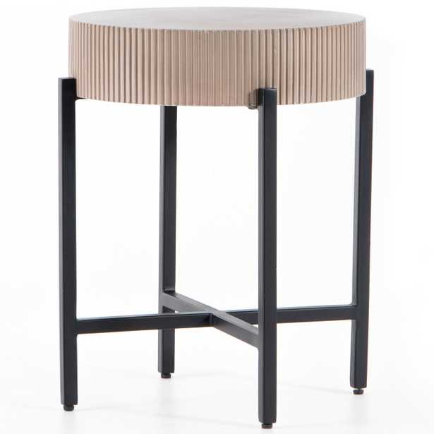 Jean Industrial Loft Taupe Brown Ridged Concrete Steel Outdoor Side End Table - Kathy Kuo Home