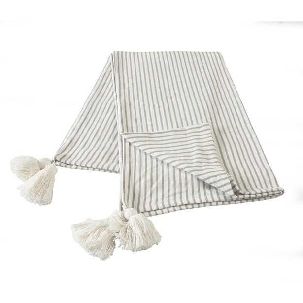 LR Home Nicobar Gray Casual Striped Tassel Cotton Throw Blanket - Home Depot