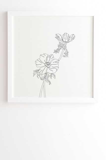 """Framed Wall Art White, Botanical Illustration Joan, 20"""" x 20"""" - Wander Print Co."""