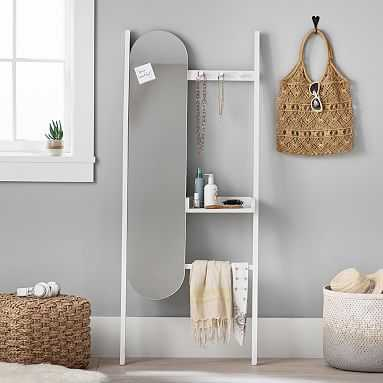 Leaning Get Ready Station, Whitewash Wood - Pottery Barn Teen