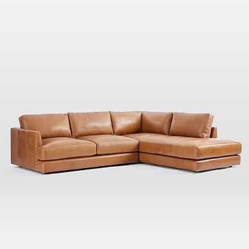 Haven Sectional Set 01: Left Arm Sofa, Right Arm Terminal Chaise, Poly, Saddle Leather, Nut - West Elm