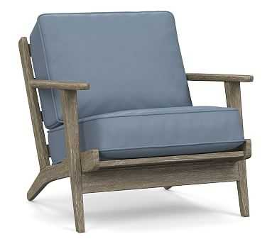Raylan Leather Armchair With Black Frame, Down Blend Wrapped Cushions, Signature Adriatic Blue - Pottery Barn
