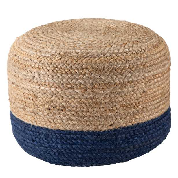 Oliana Ombre Navy/Beige Cylinder Pouf - Collective Weavers