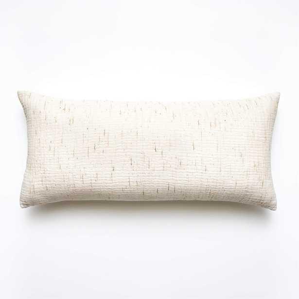 "Nett Ivory Pillow with Down-Alternative Insert, 36"" x 16"" - CB2"