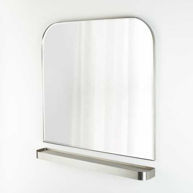 Edge Brushed Nickel Arch Wall Mirror and Shelf Set - Crate and Barrel