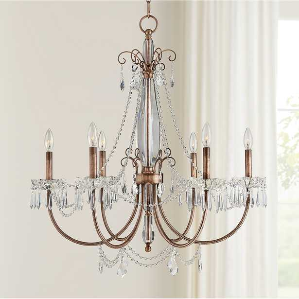 """Phillipa 30"""" Wide Copper and Crystal 6-Light Chandelier - Style # 71V71 - Lamps Plus"""