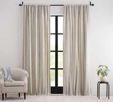 "Hawthorn Striped Cotton Rod Pocket Curtain, 50 x 96"", Blue - Pottery Barn"