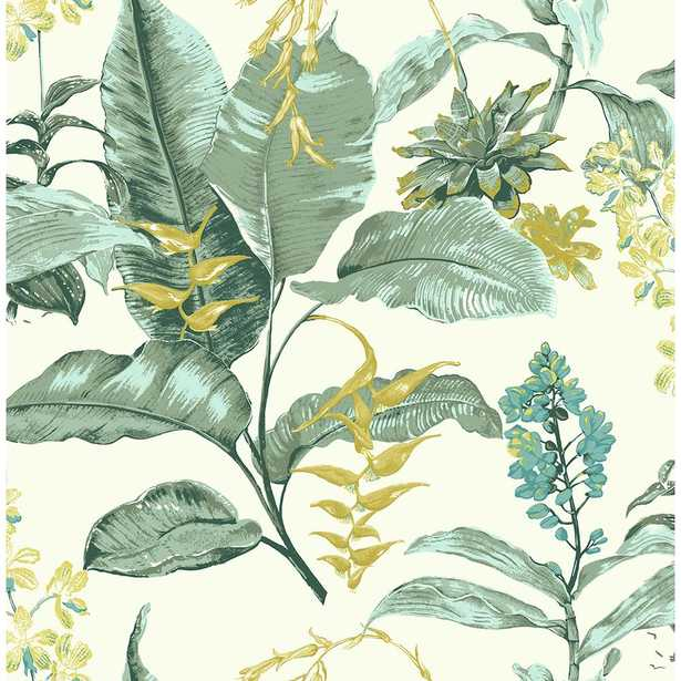 Maui Green Botanical Wallpaper Sample - Home Depot