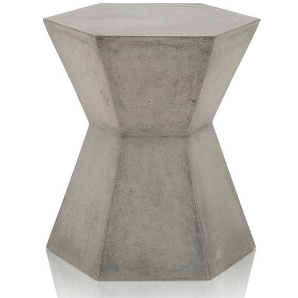Jade Modern Classic Grey Concrete Hexagon Outdoor Side Table - Kathy Kuo Home