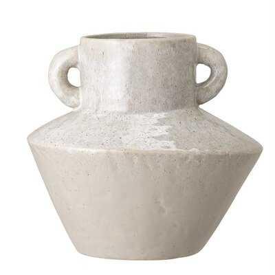 White Stoneware Vase With Handles - Wayfair