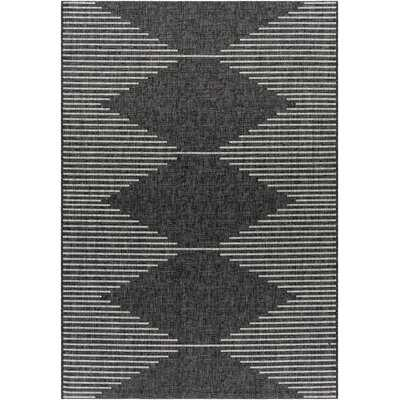 Blondena Geometric Charcoal/Cream Indoor / Outdoor Area Rug - Wayfair