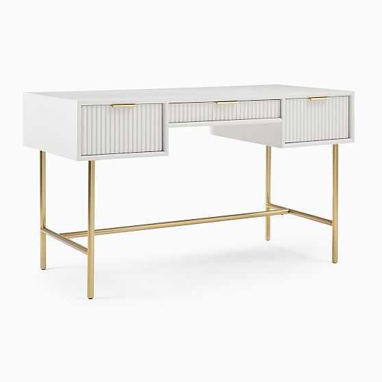 Quinn Desk, Haze, Antique Brass - West Elm
