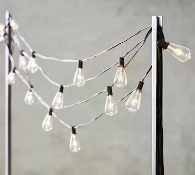 String Light Holders, S/2 Poles, Black (Indoor/Outdoor Safe) - Pottery Barn