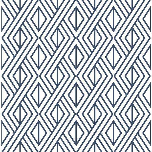 NextWall Navy Diamond Geometric Peel and Stick Wallpaper, Navy & White - Home Depot