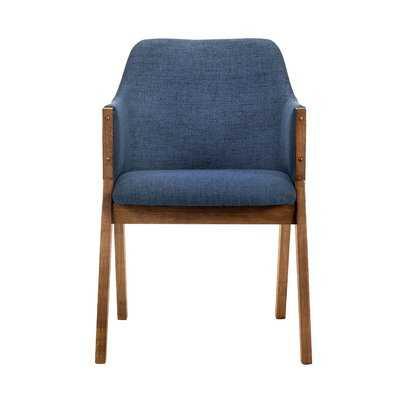 Trocadero Blue Fabric And Walnut Wood Dining Side Chairs - Set Of 2 - Wayfair