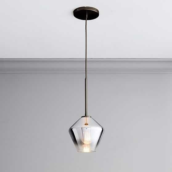 "Sculptural Glass Geo Pendant, 8"", Silver Ombre Shade, Bronze Canopy - West Elm"