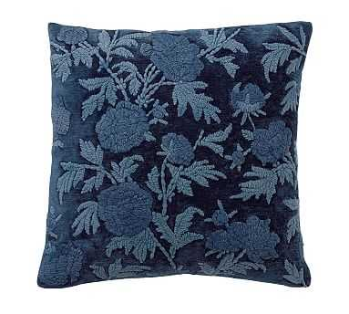 """Florence Embroidered Pillow Cover, 22"""", Midnight - Pottery Barn"""
