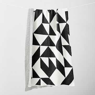 Happy Habitat Recycled Cotton Throw, Scattered Black - West Elm